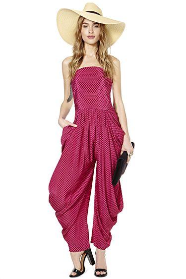 d3bd8b66d5e6 fuchsia pink strapless harem pant jumpsuit jumper  UNIQUE WOMENS FASHION
