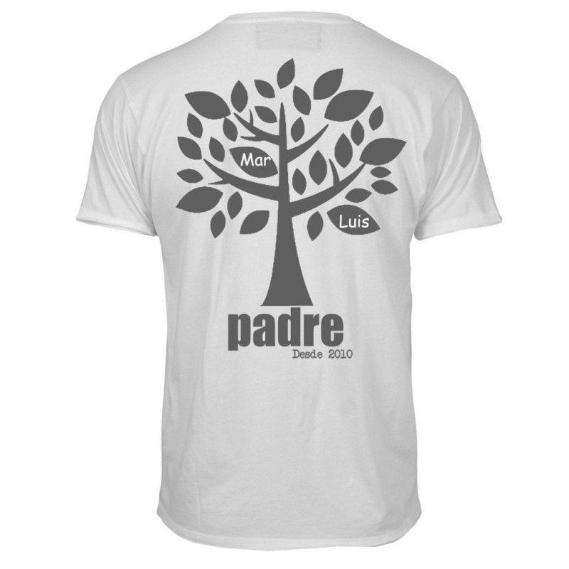 Camiseta árbol para padre. Camiseta personalizada muy original para regalar  a un padre. Lleva un árbol y en las hojas salen los nombres de los hijos. 195ceb41678
