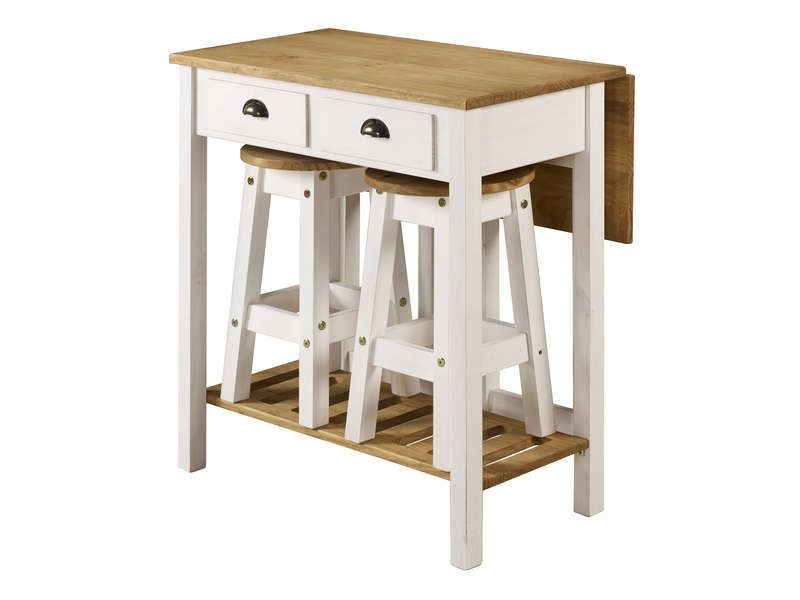 Ensemble table pliante + 2 tabourets en bois massif Pinterest - Conforama Tables De Cuisine