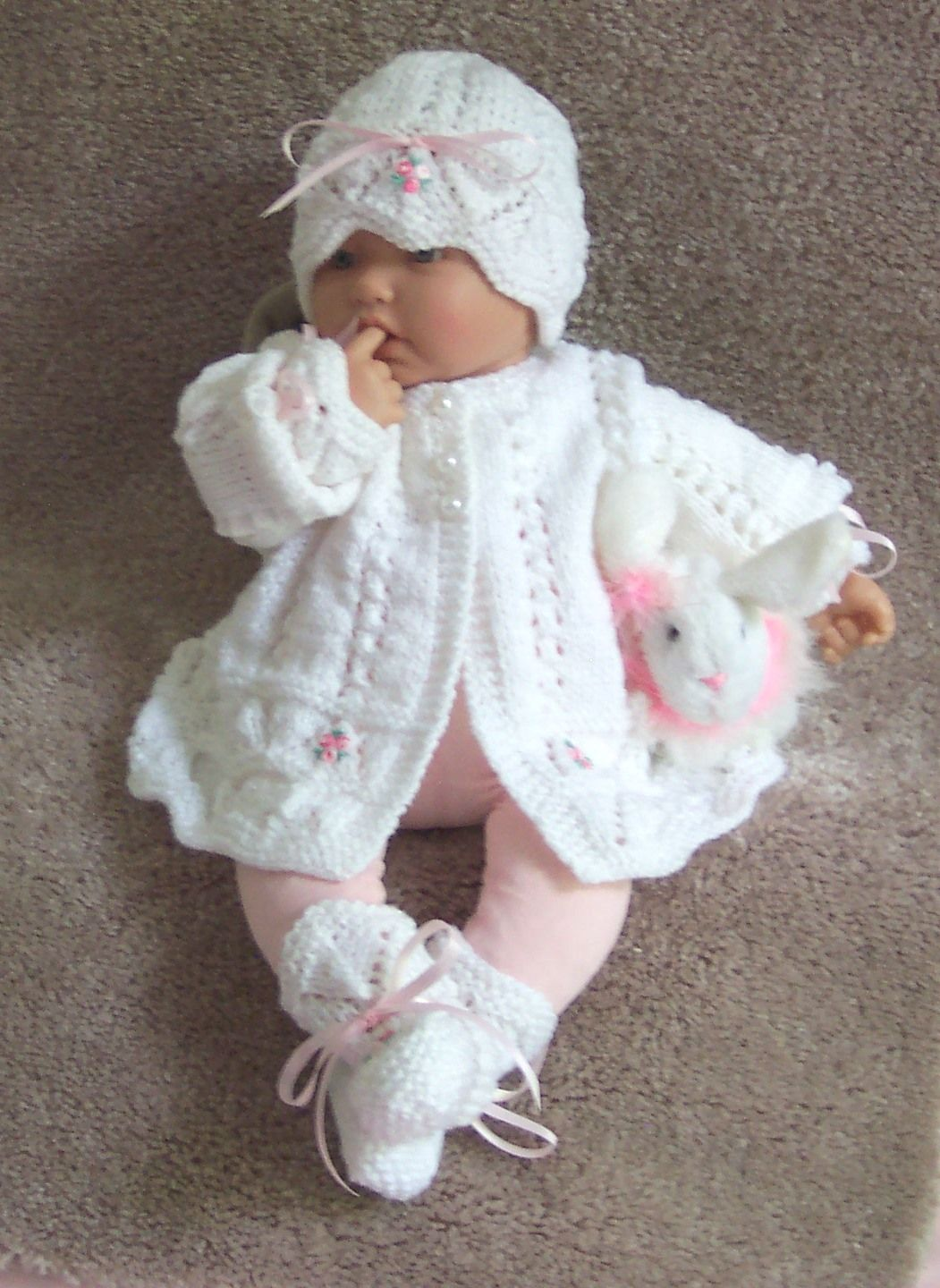 5bad91a83a7 Handmade white baby sweater, hat, and booties set. Layette hand ...