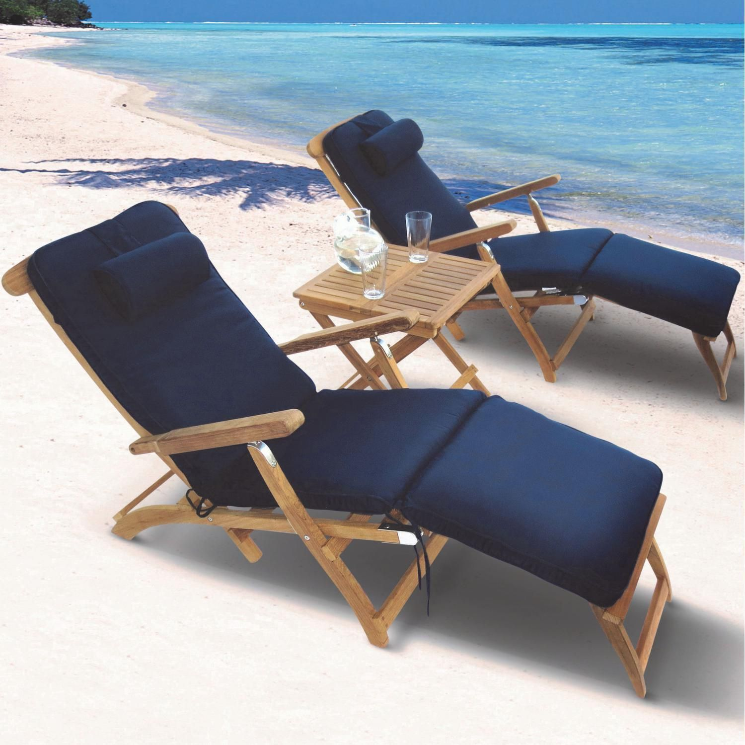Steamer 3 Piece Teak Patio Chaise Lounge Set W Side Table And Sunbrella Canvas Navy Cushions By Royal Teak Collection Teak Outdoor Furniture Patio Chaise Lounge Teak Furniture