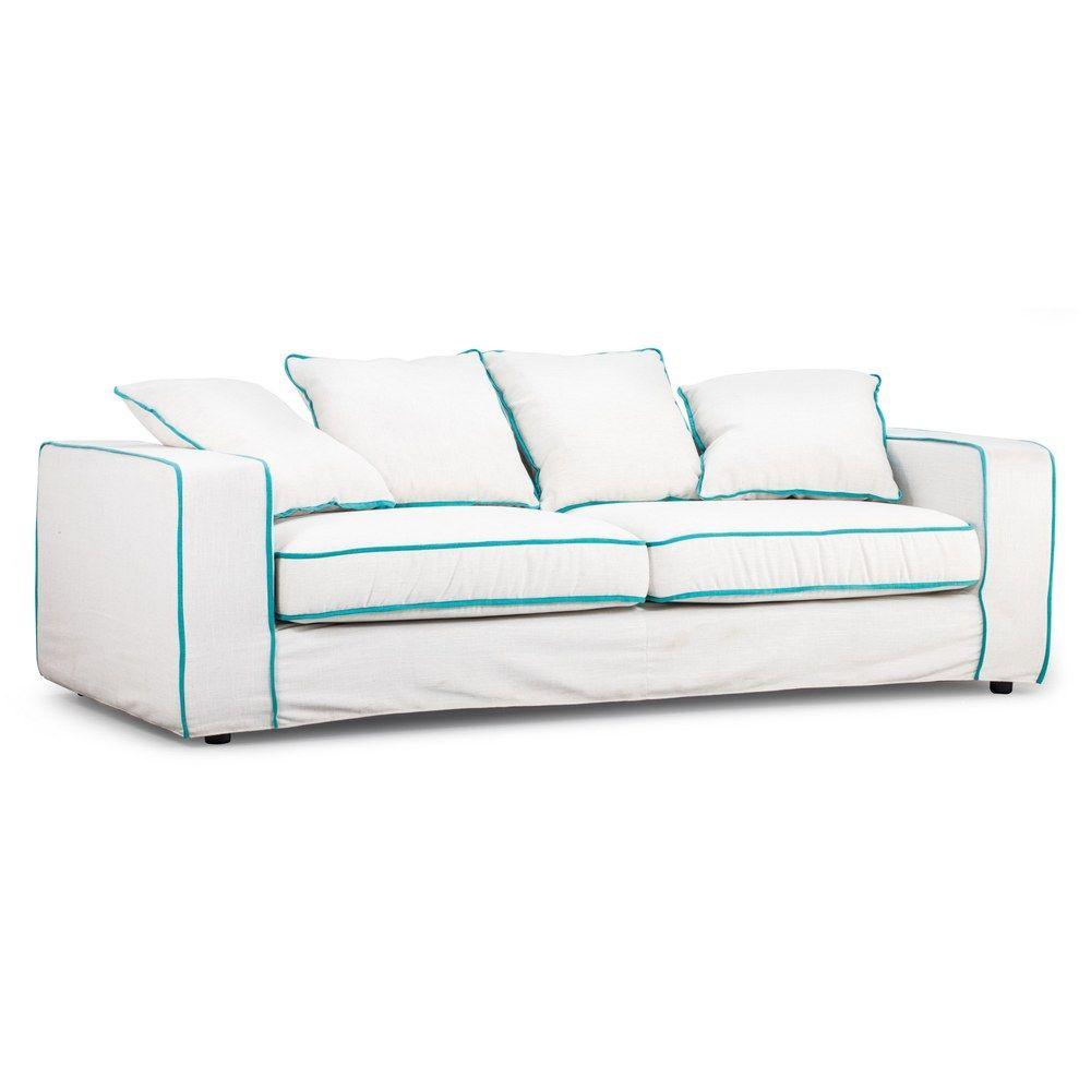 Vasteras Aqua Piping Sofa Linen | Overstock.com Shopping ...