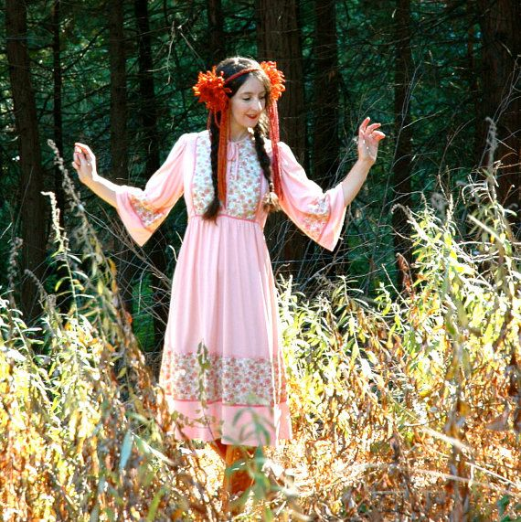 Vintage 1970s Dress Prairie Dress Princess Dress by