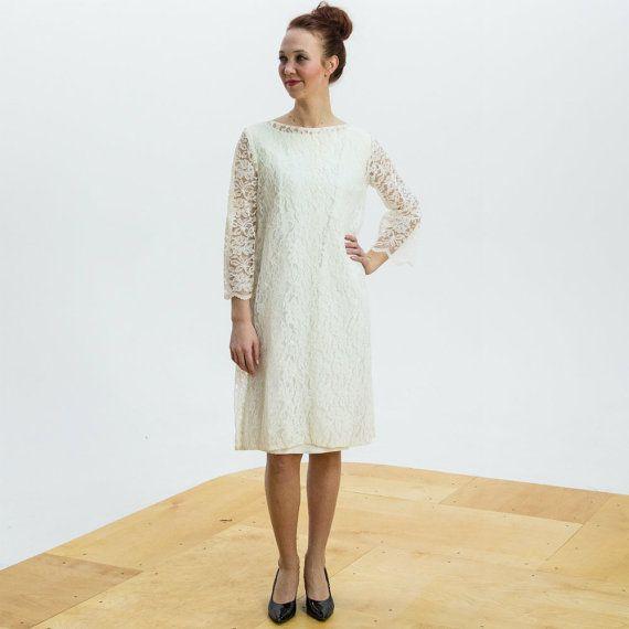 1960s White Lace Wedding Dress Short Reception Mod