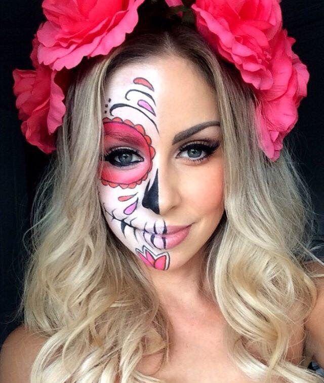 maquillaje de catrina media cara