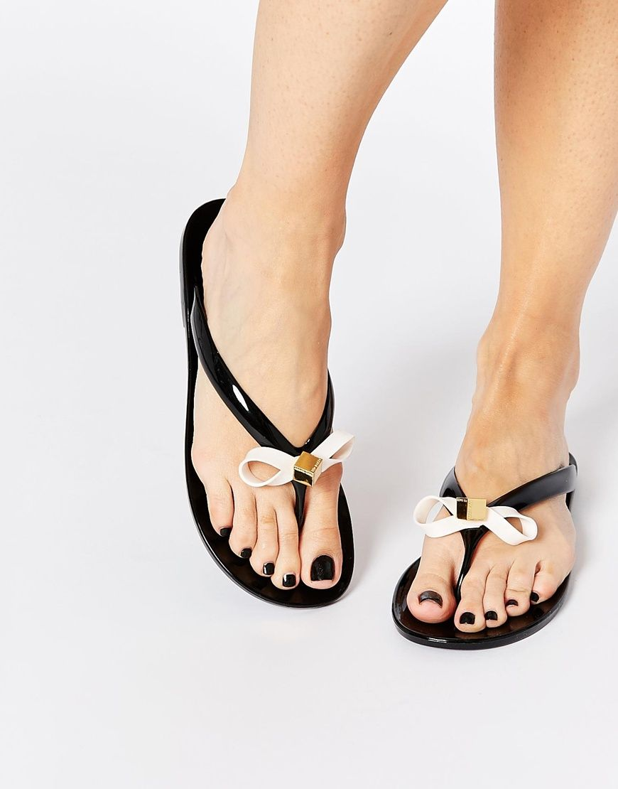 Black jelly sandals with bow - Ted Baker Taito Black Jelly Bow Flip Flops