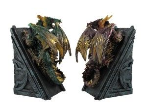 Metallic Dragon Bookends