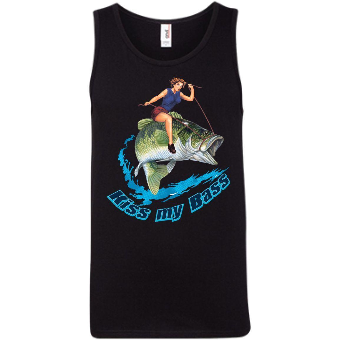 Kiss My Bass -Brunette 100% Ringspun Cotton Tank Top