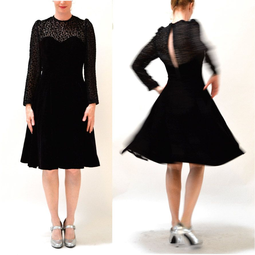 Vintage black velvet dress size medium large with crinoline skirt