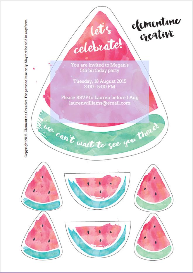 free printable watermelon party invitations download the templates