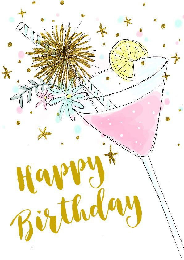 een hippe verjaardagskaart met een mooie illustratie van een