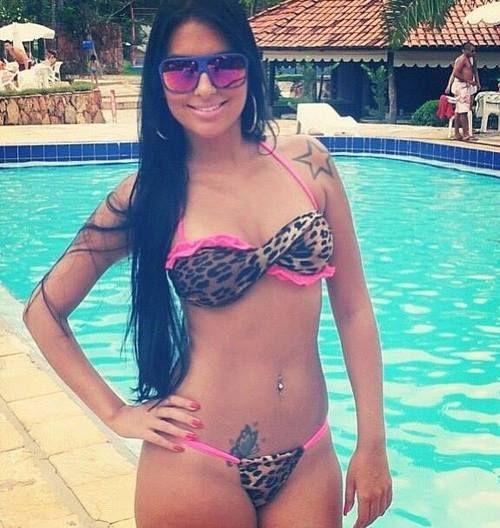 hot bikini latin - sexy latina in hot bikini on her tattooed nasty body with big nice boobs