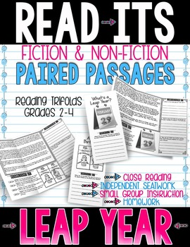 Reading Comprehension ~ Close Reading ~ Reading Passages ~ Paired Passages  Get Ready to READ and RESPOND with my brand new READ-ITS™ Paired Passages TRIFOLDS!   This resource contains 2 passages on Leap Year These Read-Its Trifolds fit beautifully into your INTERACTIVE NOTEBOOKS!