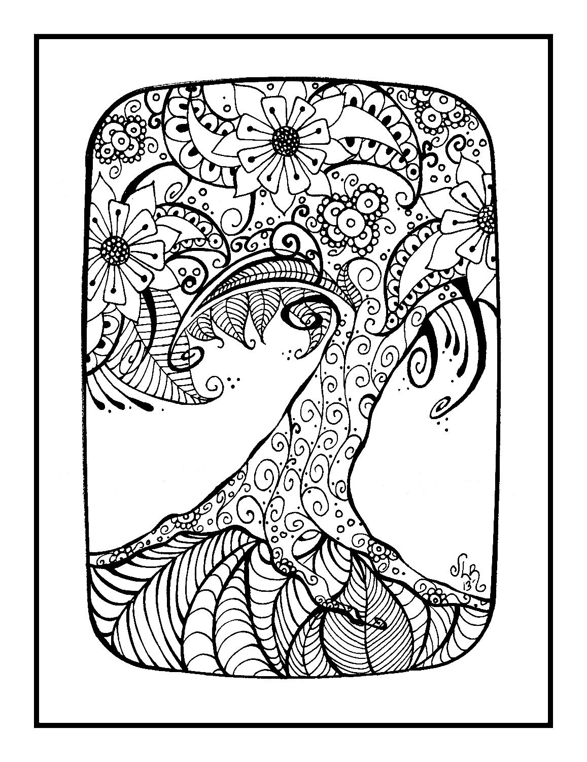 Pin By Dorine Huyghe On School Kleurplaten Henna Tree Coloring Pages Henna Body Art