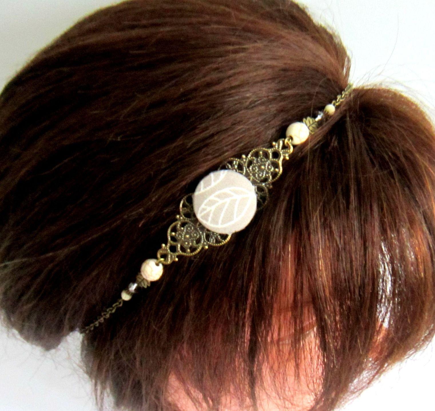 Headband bohème chic bronze blanc et taupe , bijou de tête, collier, cabochon en tissu taupe à motif feuille : Accessoires coiffure par color-life-bijoux