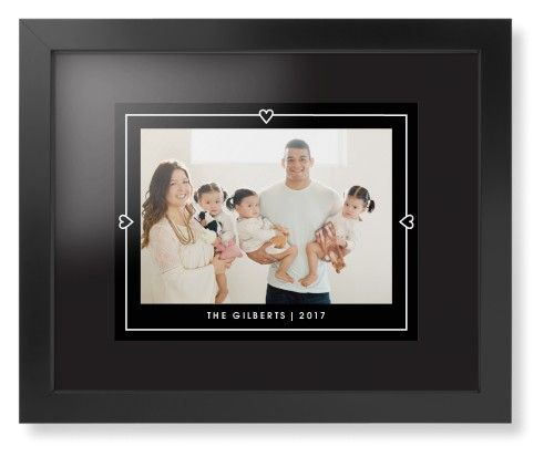 Heart Lines Framed Print, Black, Contemporary, None, Black, Single piece, 11 x 14 inches, Black