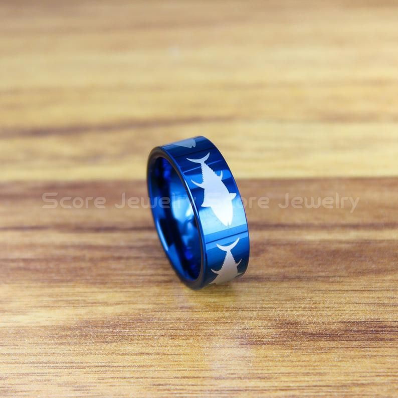 FREE SHIPPING 8mm Tungsten Wedding Ring FREE Custom Engraving 8mm Tungsten Band with Domed Edge Football Seam Pattern All Around The Ring