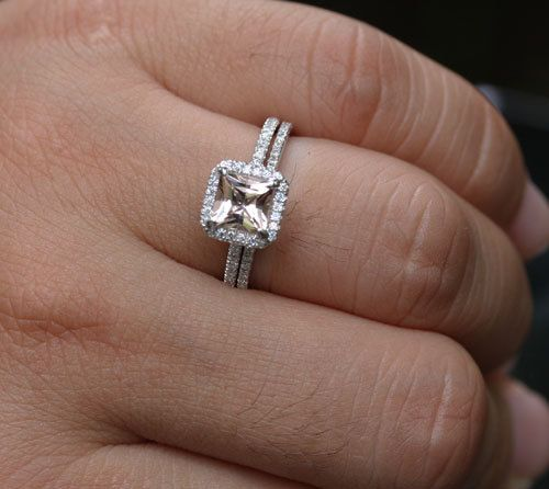 Spectacular White Gold Morganite Princess Cut Single Emerald Halo Ring and Diamonds Wedding Band set Choose color and size options at checkout