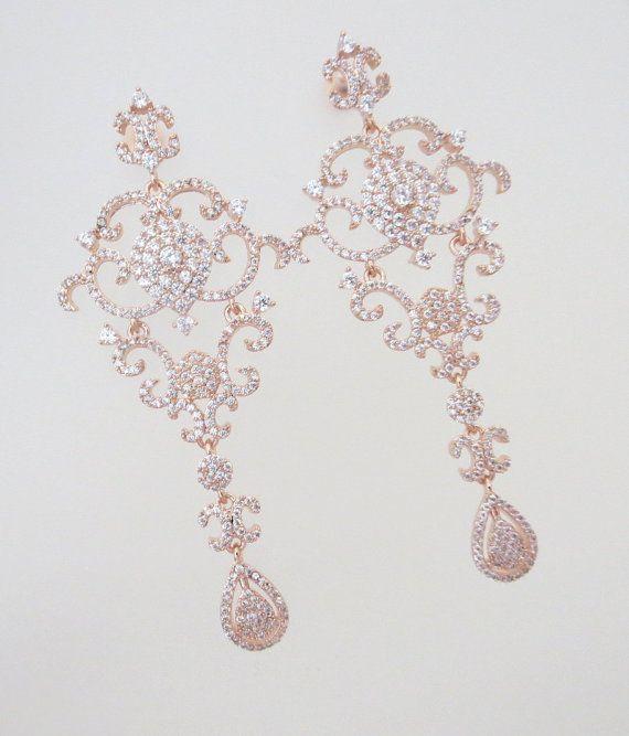 Rose Gold Earrings Chandelier Wedding By Treasures570