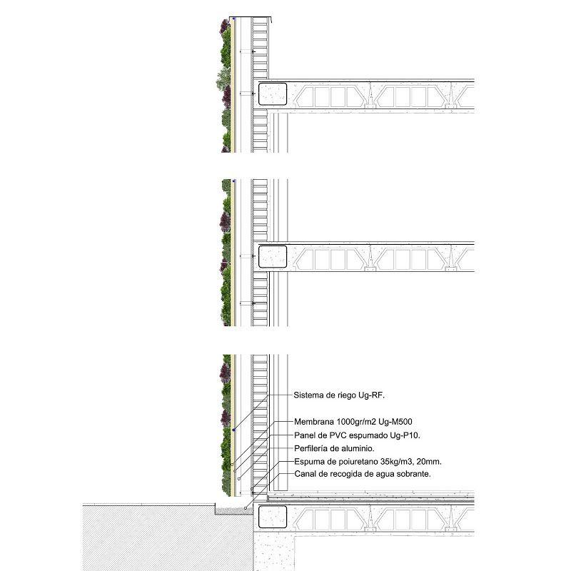 Detalle constructivo jard n vertical sistema f p for Sistema de riego jardin vertical