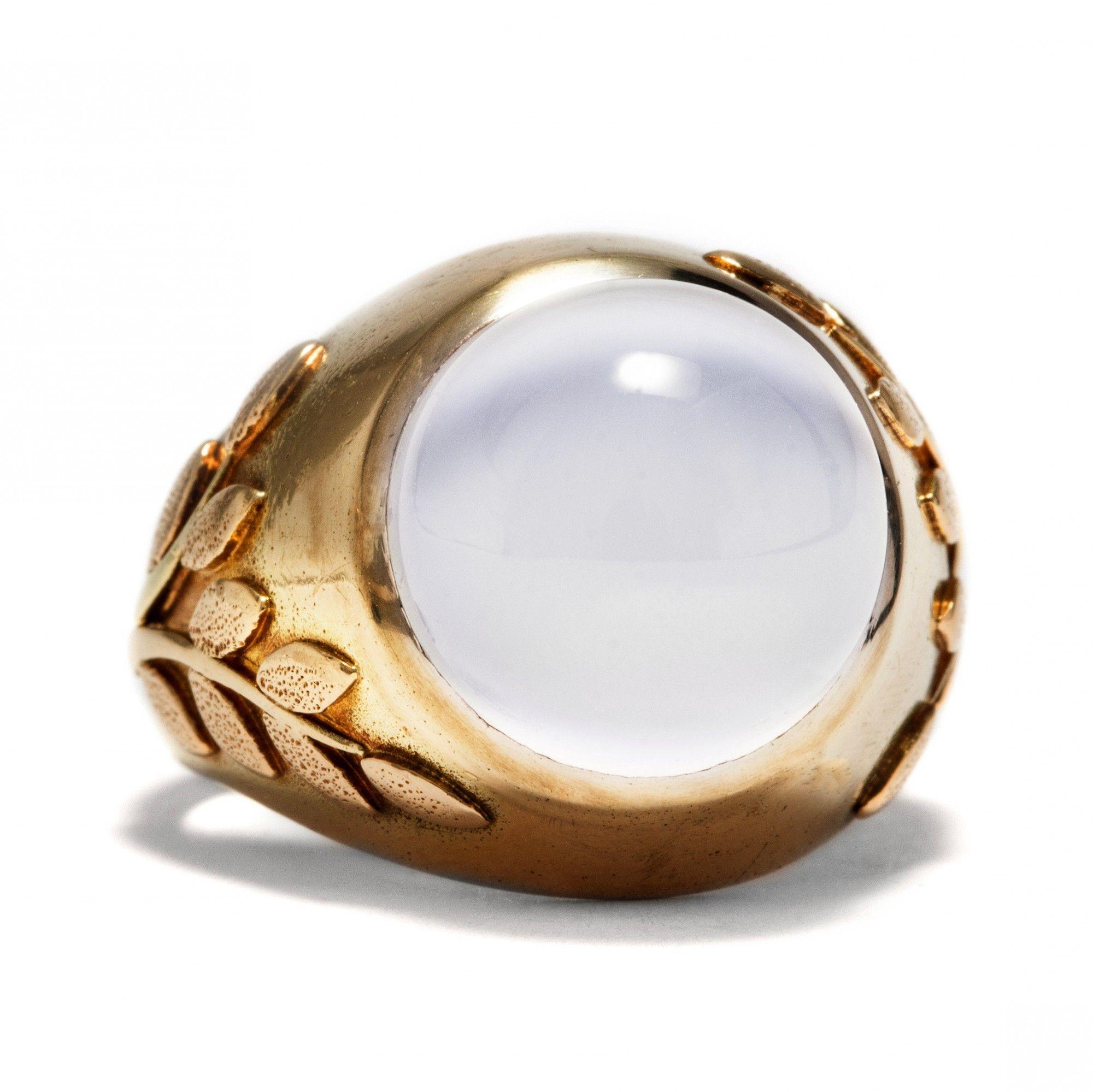 Goldring mit mondstein  Lunar Experience - Außergewöhnlicher Gold-Ring mit Mondstein, um ...