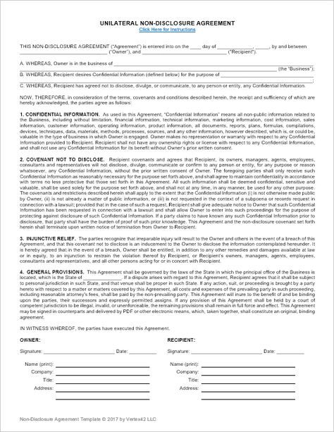 Download The NonDisclosure Agreement Template From VertexCom