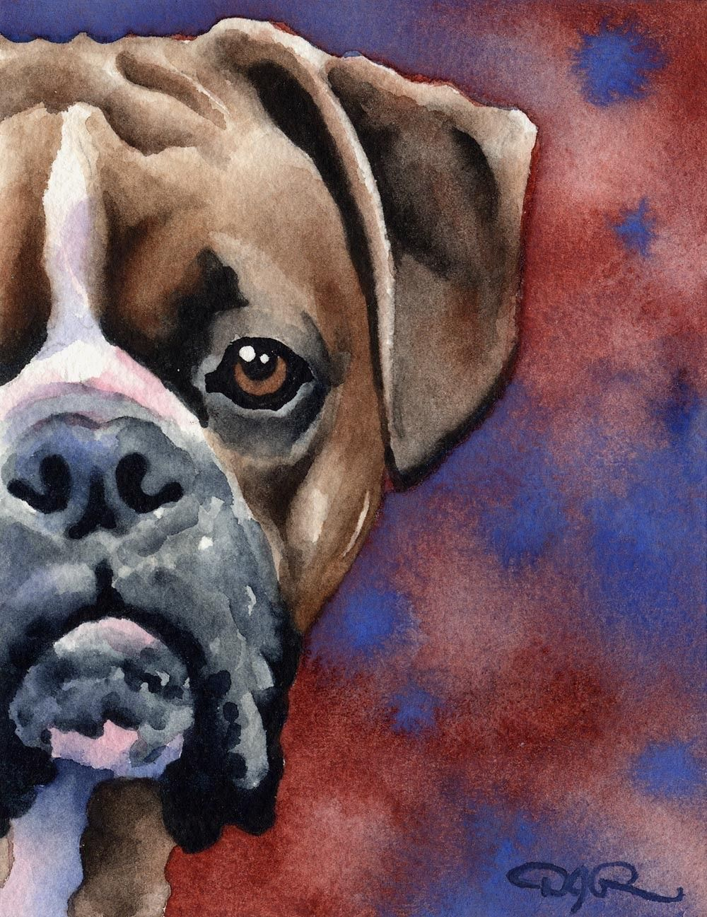 Bulldog Abstract Watercolor Painting Art Print by Artist DJ Rogers
