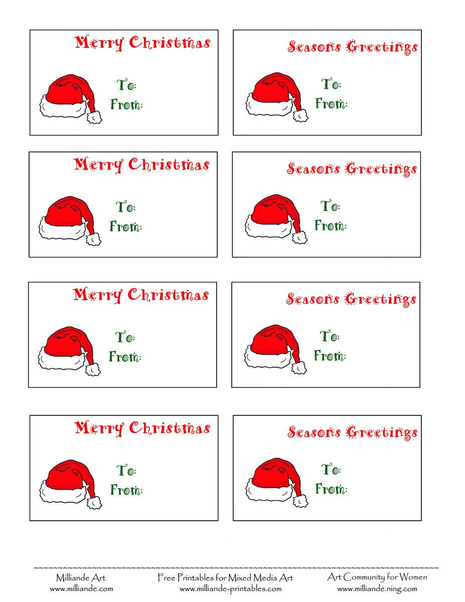 picture relating to Santa Labels Printable identified as cost-free printable xmas labels santa hat xmas present