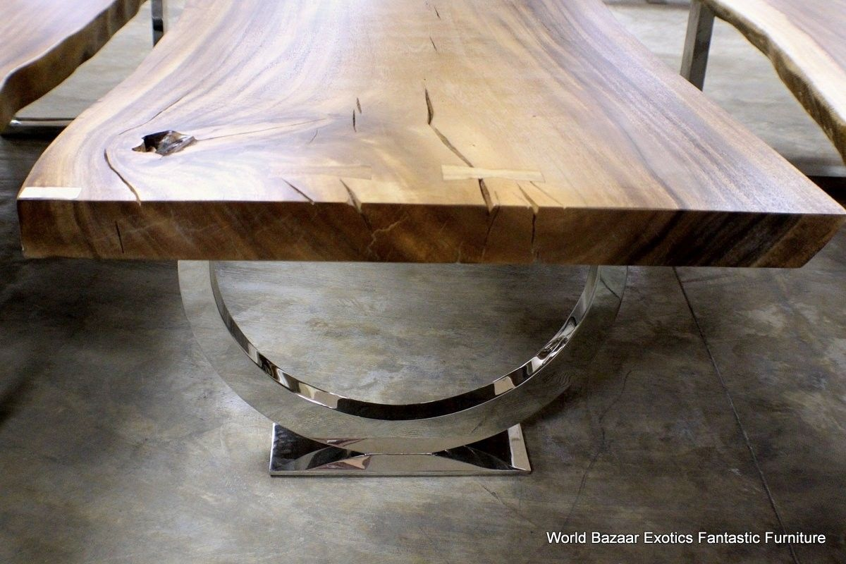 L Dining Table Desk Solid Exotic Acacia Wood Slab Thick Fine Chrome Legs