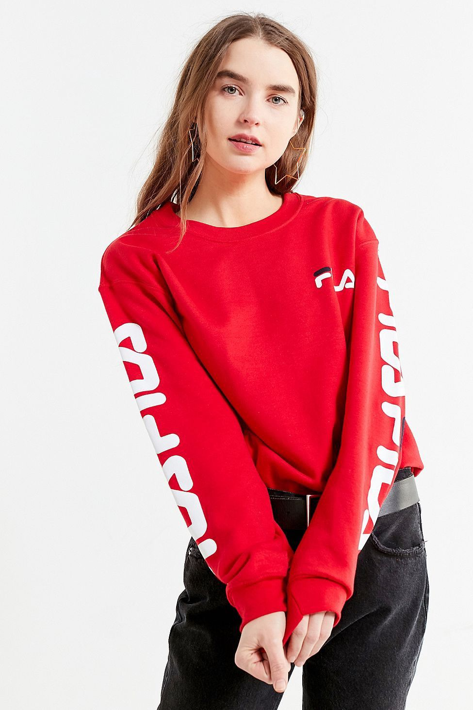 87502f2c78b Urban Outfitters Fila + Uo Double Logo Crew-Neck Sweatshirt - L ...