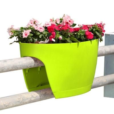 Greenbo Xl Deck Rail Planter Box With Drainage Trays 24 In Color Apple Green Set Of 2 Gxl02 Ag The Home Depot Deck Railing Planters Railing Planters Balcony Planters