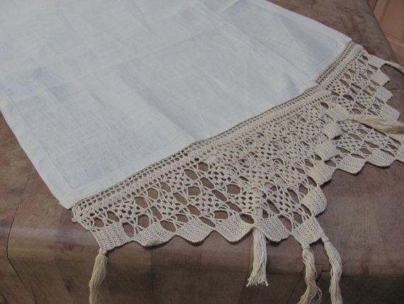 Vintage Table Runner Linen Crochet Lace Edges Vintage Table