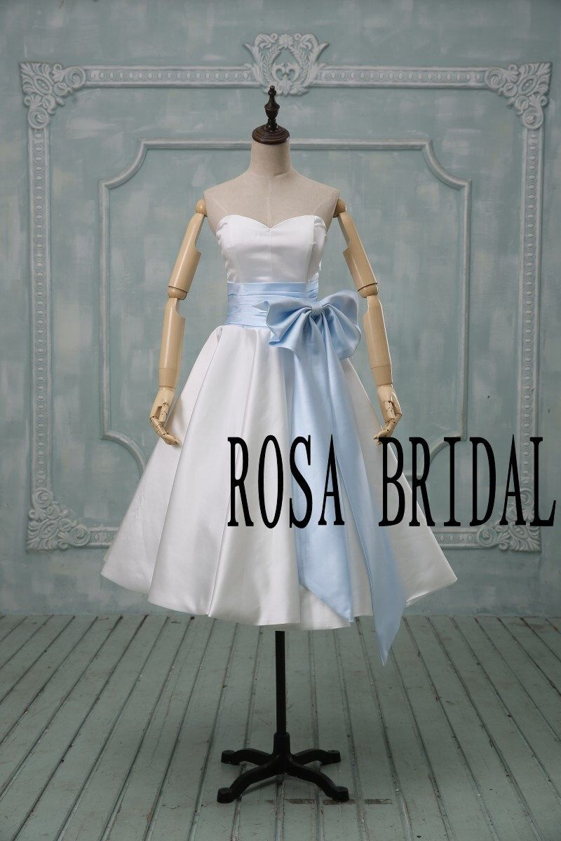Short wedding dress sky blue bow Tea length wedding dress ivory