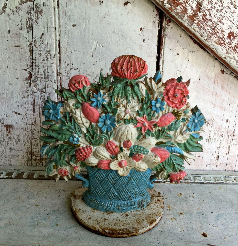 Antique Cast Iron door stop Flowers in a Basket floral door stop by  LititzCarriageHouse on Etsy - Antique Cast Iron Door Stop Flowers In A Basket Floral Door Stop By
