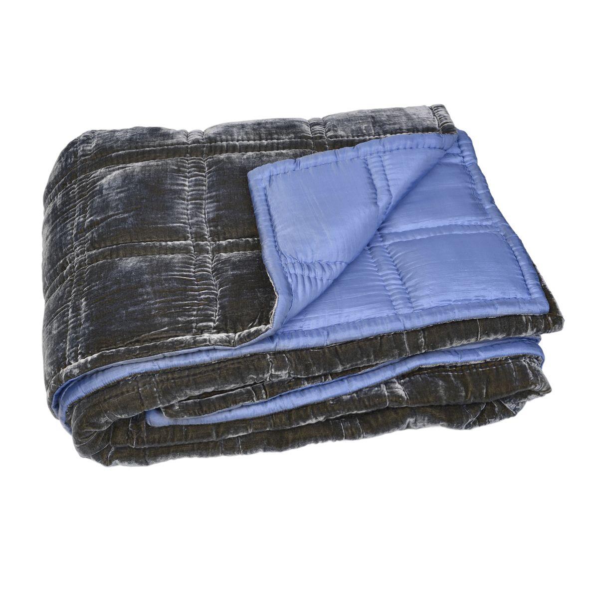 couvre lit boutis en velours de soie matelass 240 x 240. Black Bedroom Furniture Sets. Home Design Ideas