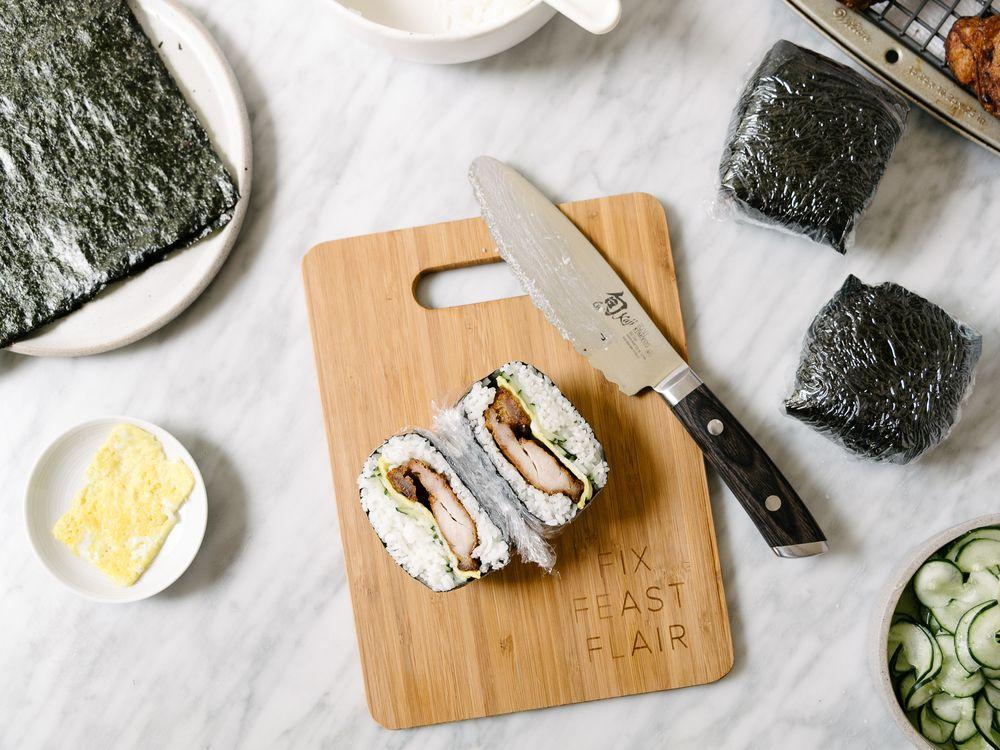 MOCHIKO CHICKEN ONIGIRAZU WITH QUICK PICKLES AND EGG #food #foodporn #foodies