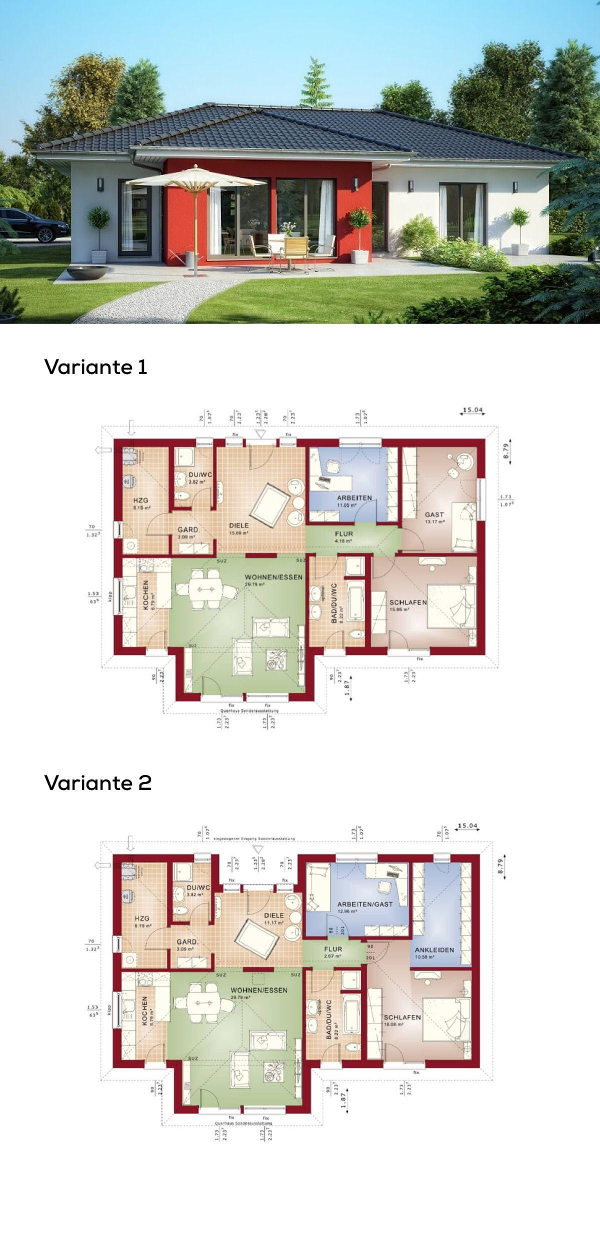 Bungalow Haus Architektur modern mit Walmdach - Grundriss Fertighaus ...