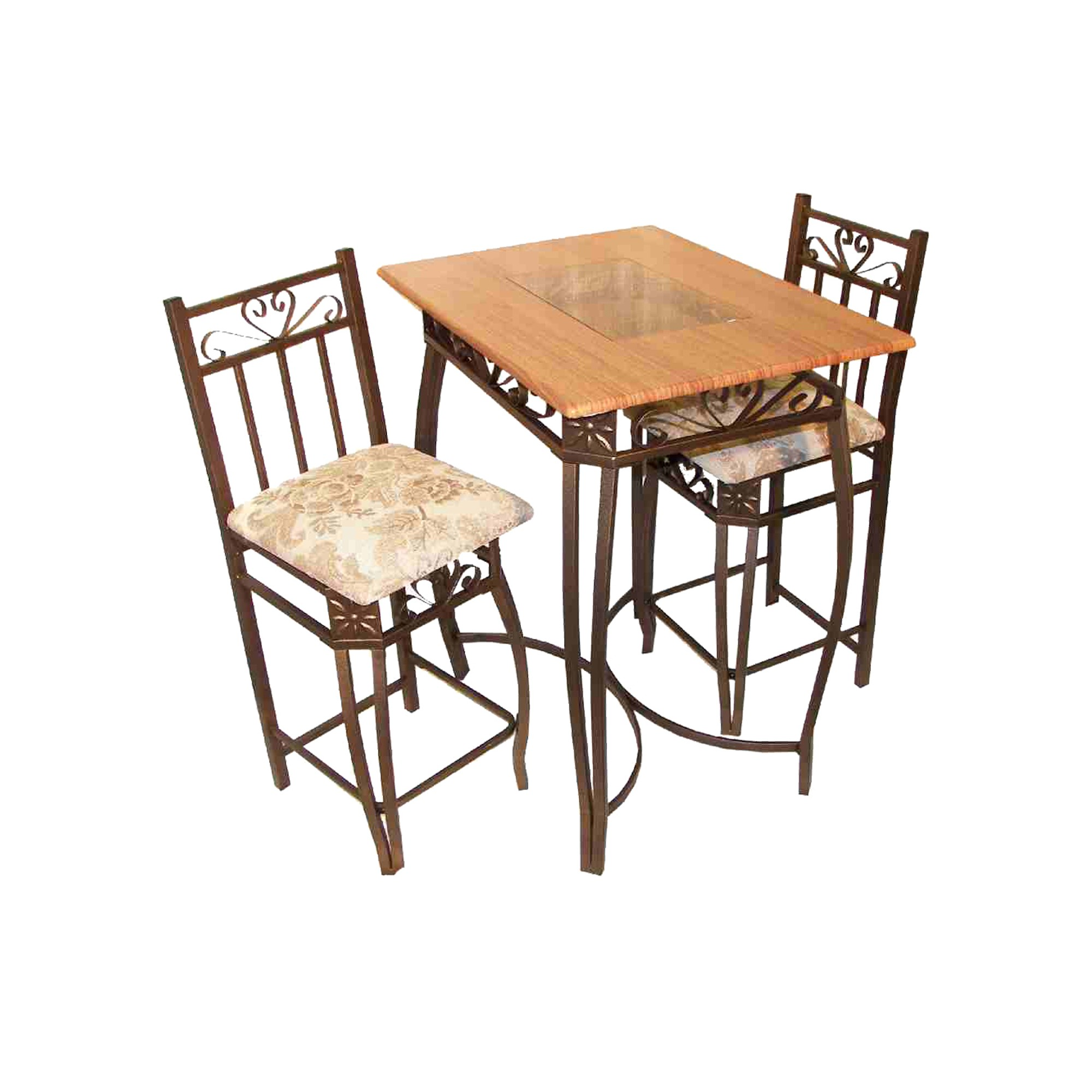 3pc Bar Height Table Set Cherry Home Source Bar Table Sets