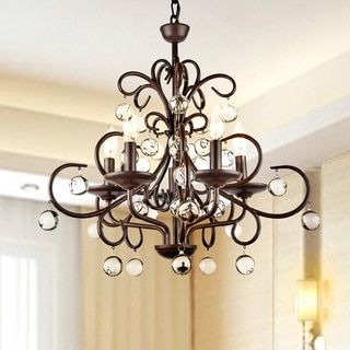 Wrought iron and crystal 5 light chandelier brown araa luces y wrought iron and crystal 5 light chandelier overstock shopping the best aloadofball Image collections