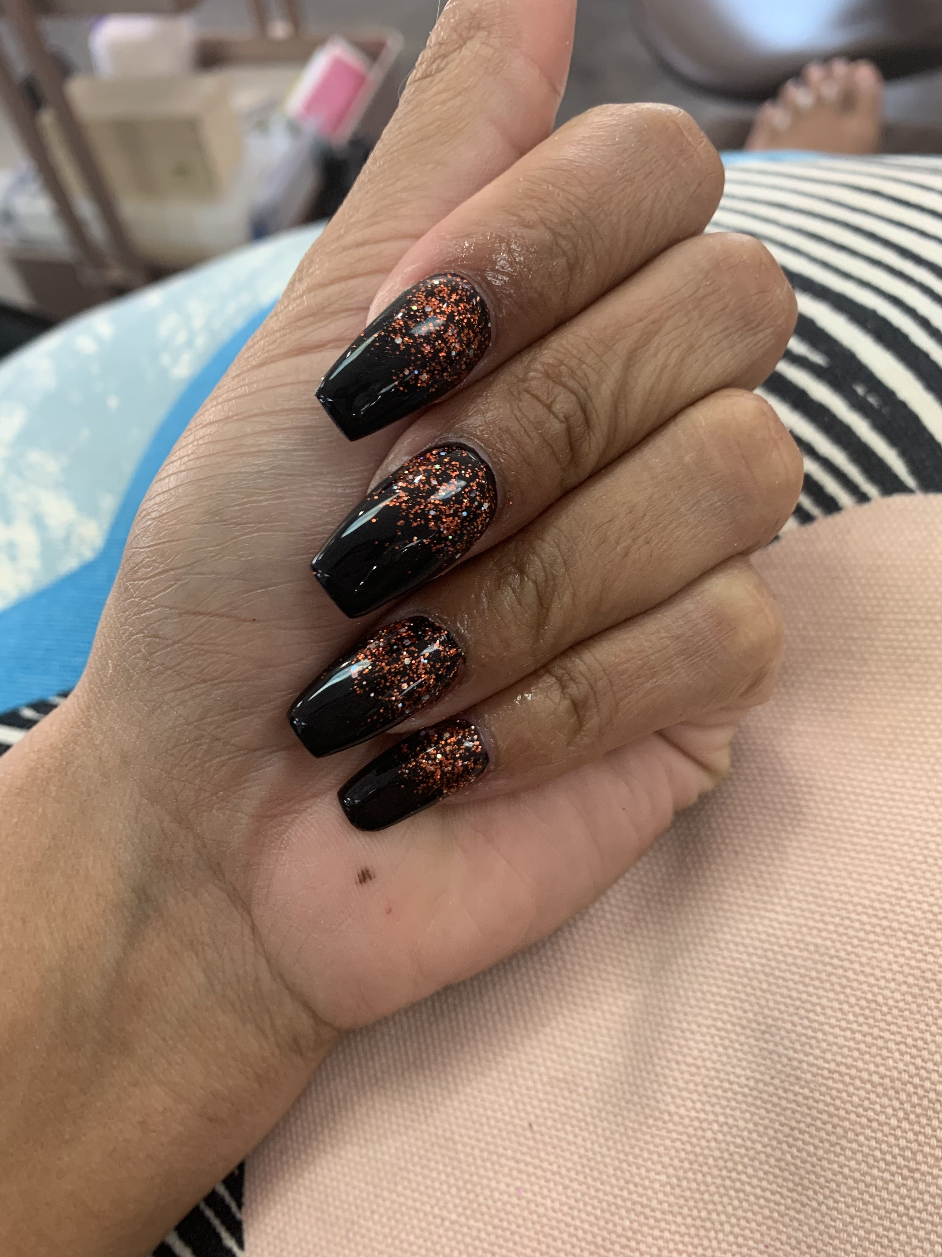 Black and orange nails Acrylic coffin shaped. #nails # ...