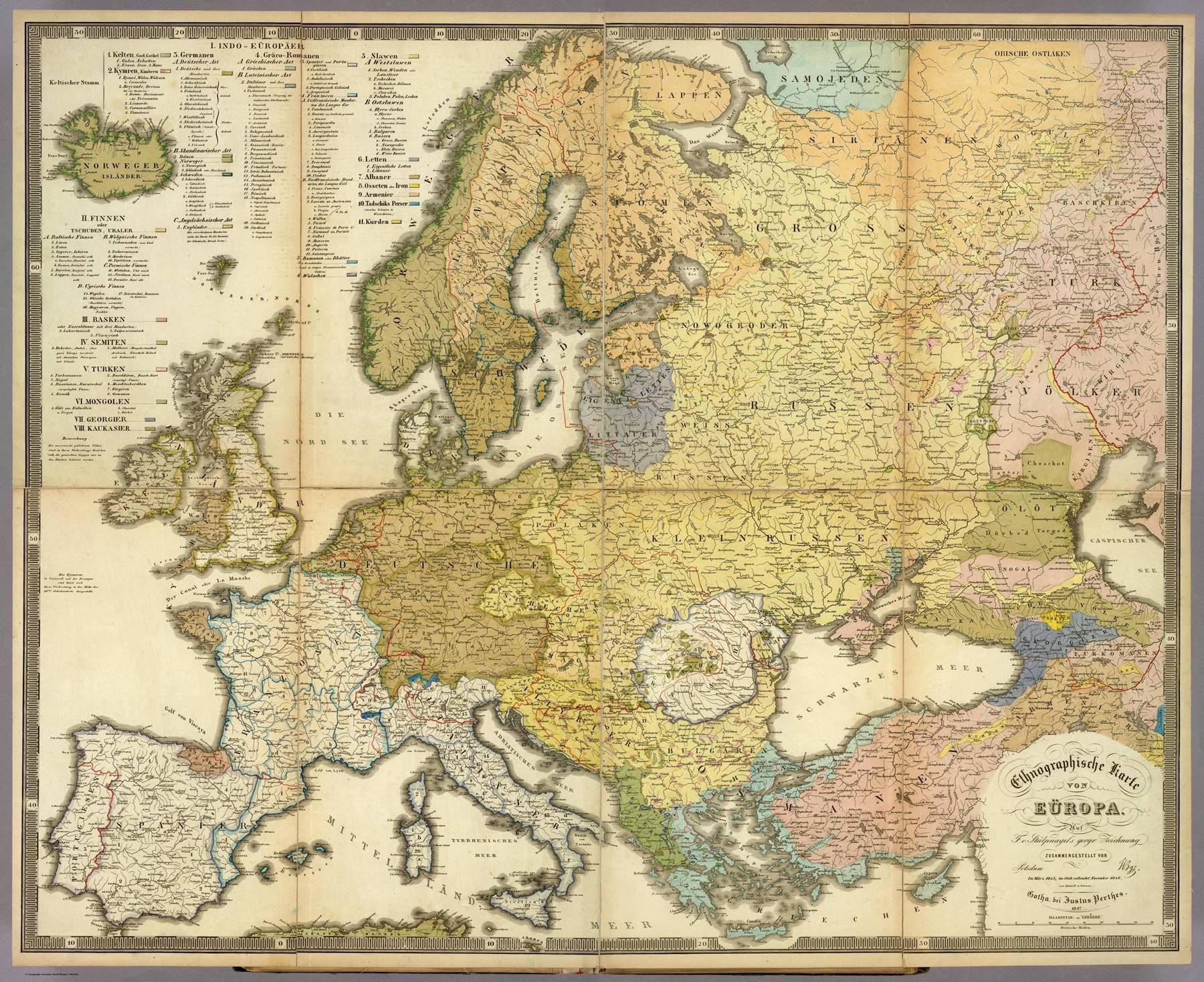 A german ethnic map of Europe 1847 1800x1469 Vintage Of and Ethnic