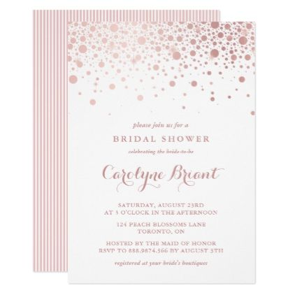Faux Rose Gold Confetti Bridal Shower Invitation Gold confetti
