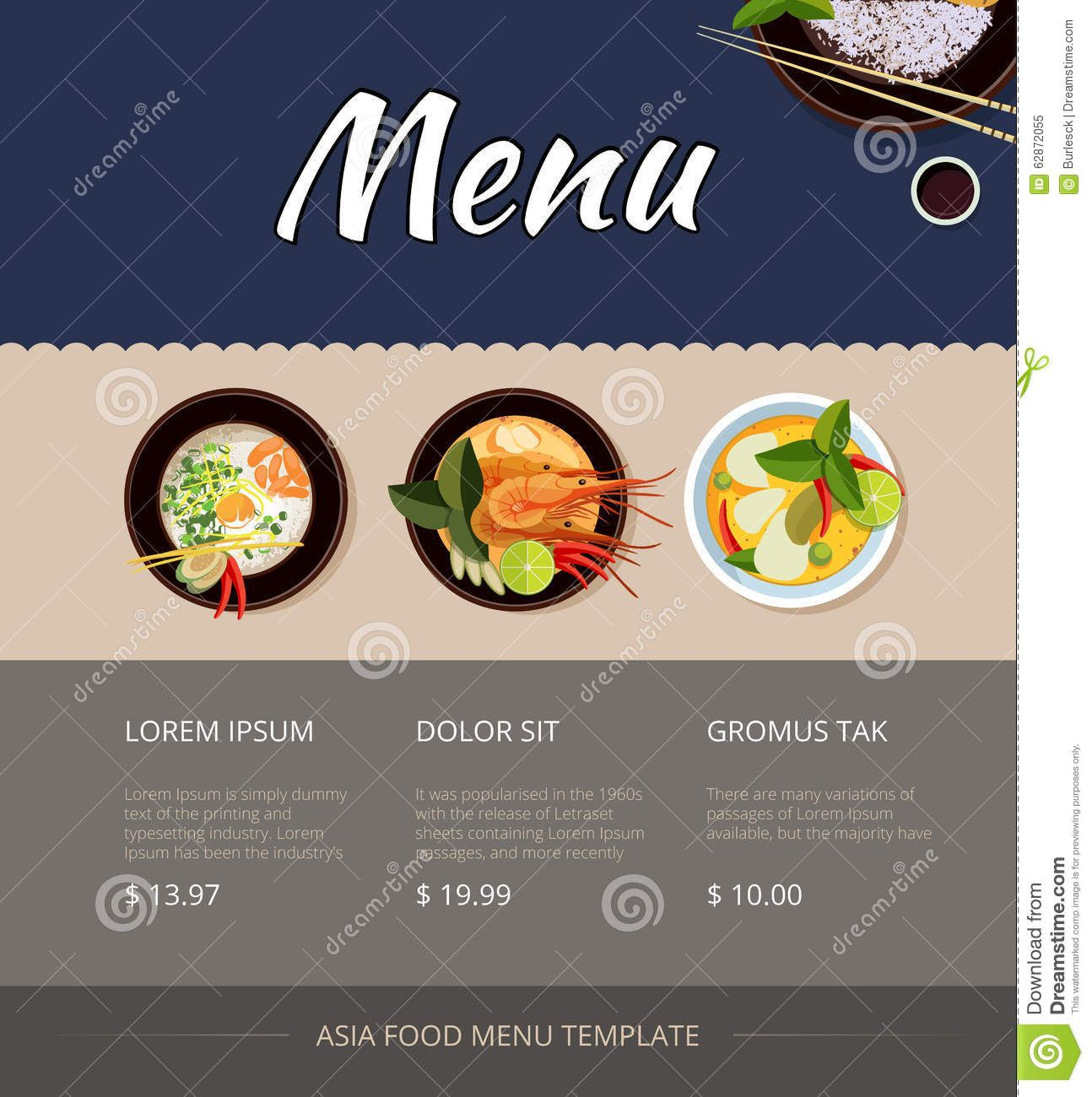 Thai Food Menu Vector Template Design Thai Food Menu Food Menu