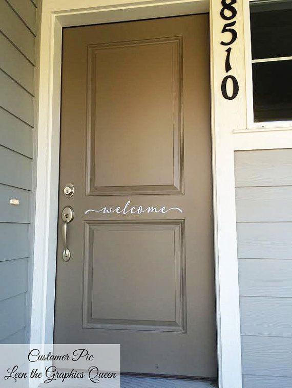Welcome Front Door Sticker Decal \u2022 Script Lettering Welcome Front