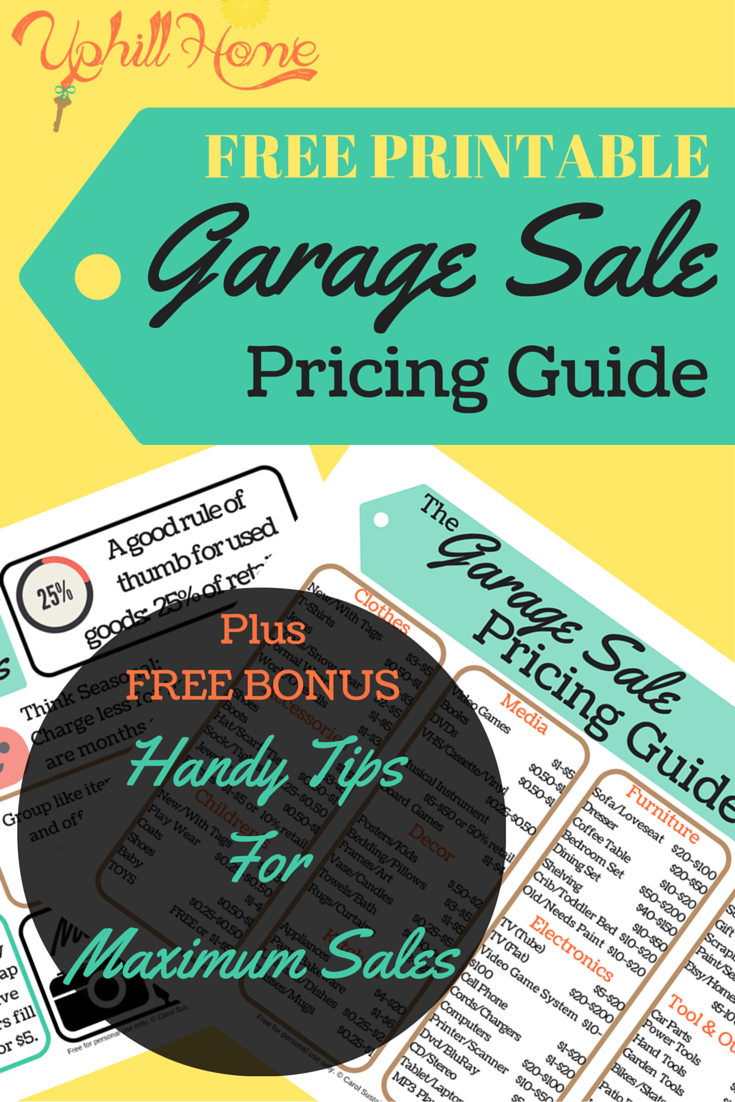 Garage Sale Ideas Organize Part - 24: Free Garage Sale Pricing Guide
