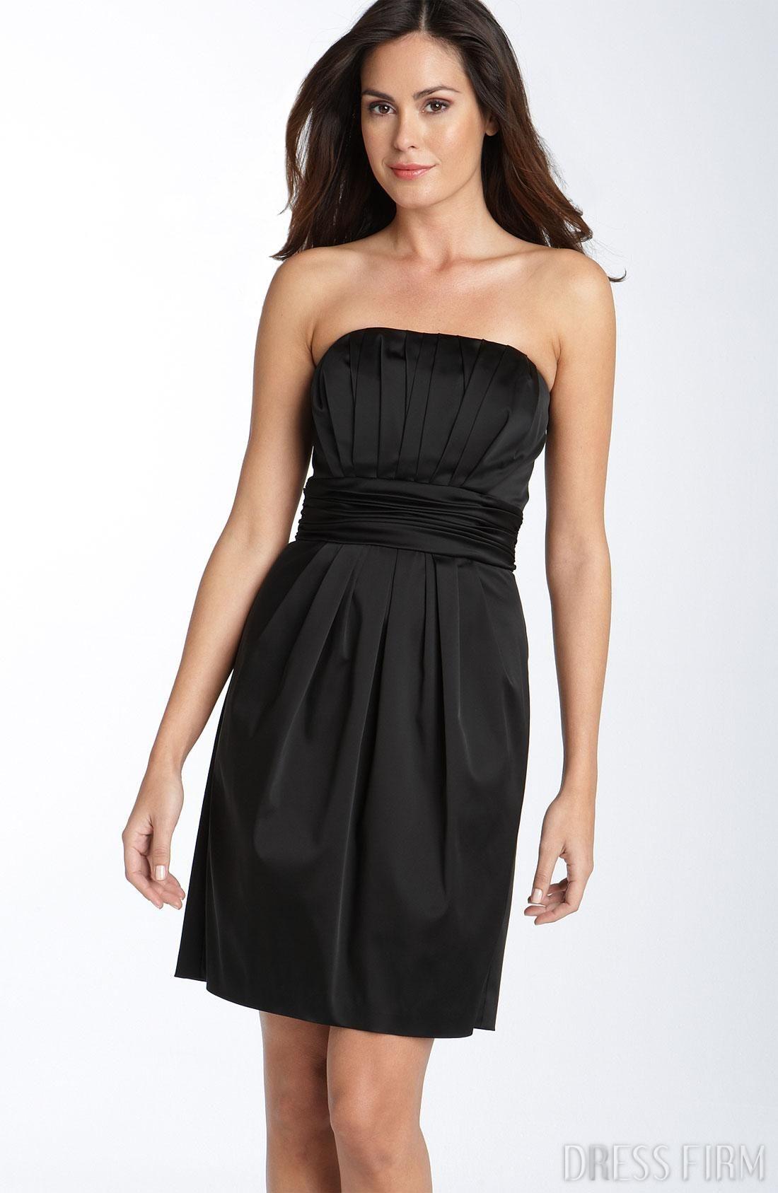 Fashionable draped empire waist strapless bridesmaid dress free