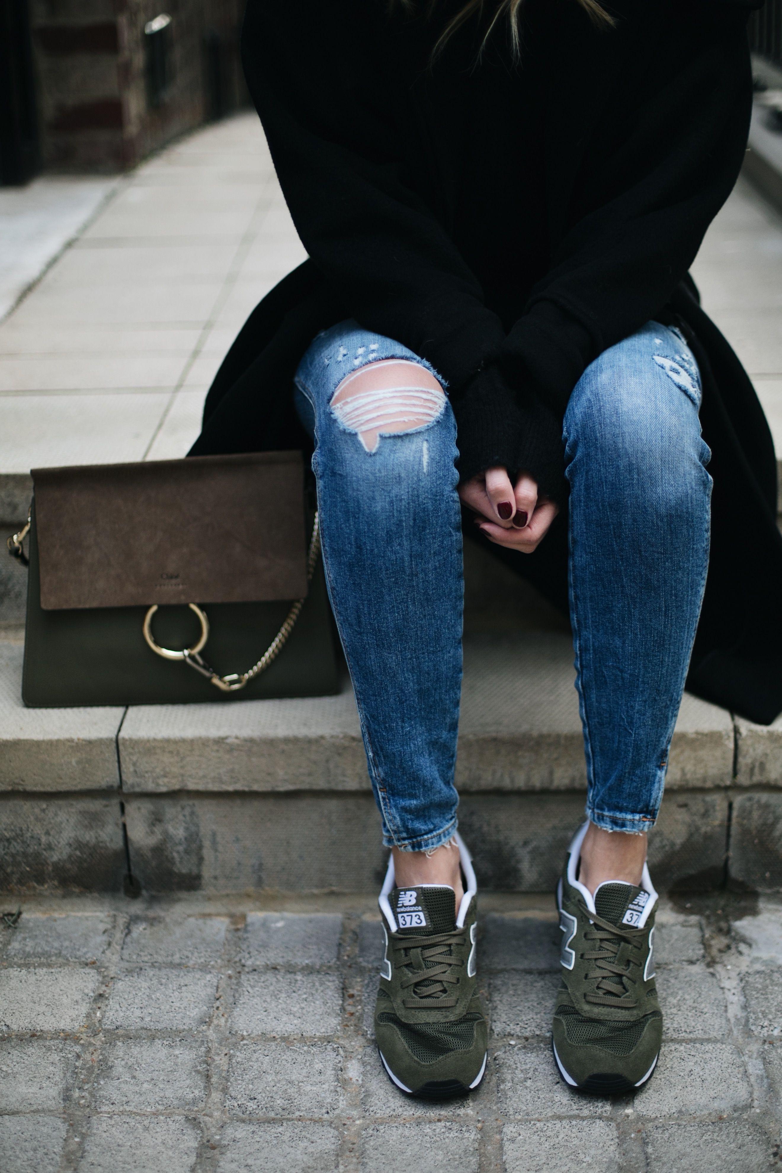 ripped skinny jeans black coat, khaki