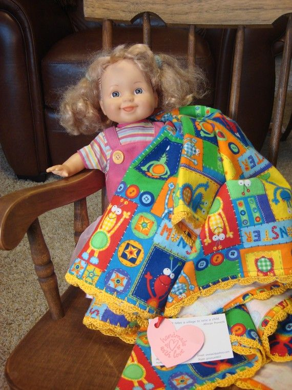 Friendly Monster Flannel Blankie by Pipsqueak Petites on Etsy, $28.00