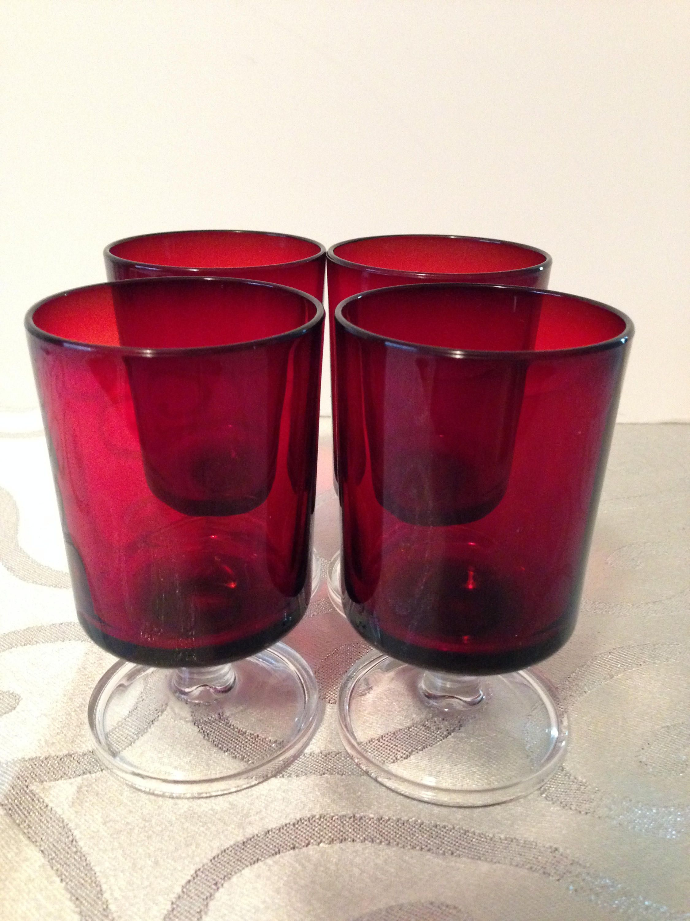 Luminarc Glass Arcoroc Luminarc Red Ruby Cavalier Cordial Wine Glasses Set Of 4