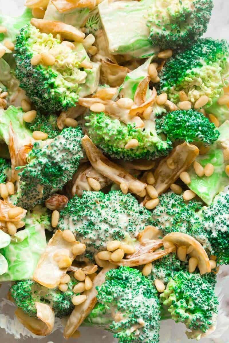 Keto Broccoli Salad No Mayo The Big Man S World Recipe Broccoli Salad Broccoli Veggie Dishes